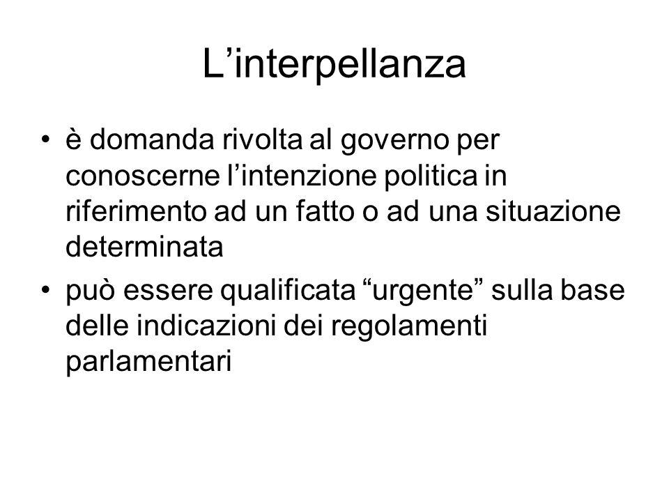 L'interpellanza è domanda rivolta al governo per conoscerne l'intenzione politica in riferimento ad un fatto o ad una situazione determinata può esser