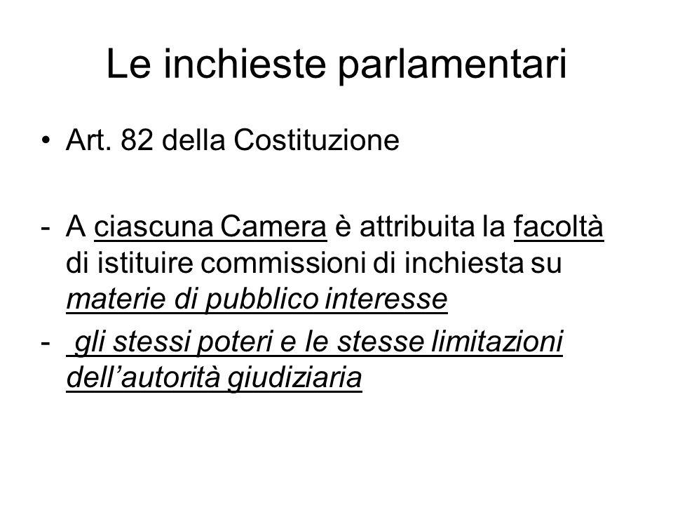 Le inchieste parlamentari Art. 82 della Costituzione -A ciascuna Camera è attribuita la facoltà di istituire commissioni di inchiesta su materie di pu