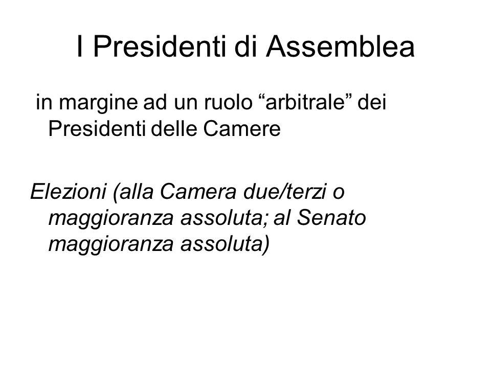 """I Presidenti di Assemblea in margine ad un ruolo """"arbitrale"""" dei Presidenti delle Camere Elezioni (alla Camera due/terzi o maggioranza assoluta; al Se"""