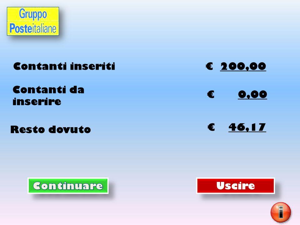 Contanti inseriti € 200,00 Resto dovuto € 46,17 Uscire Contanti da inserire € 0,00