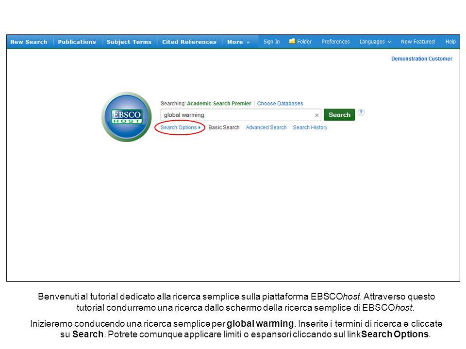 Benvenuti al tutorial dedicato alla ricerca semplice sulla piattaforma EBSCOhost.