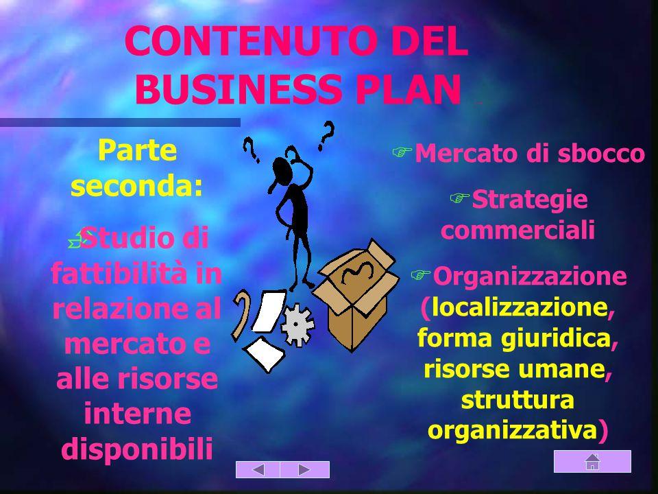 Parte seconda:  Studio di fattibilità in relazione al mercato e alle risorse interne disponibili  Mercato di sbocco  Strategie commerciali  Organizzazione (localizzazione, forma giuridica, risorse umane, struttura organizzativa) CONTENUTO DEL BUSINESS PLAN (parte seconda)