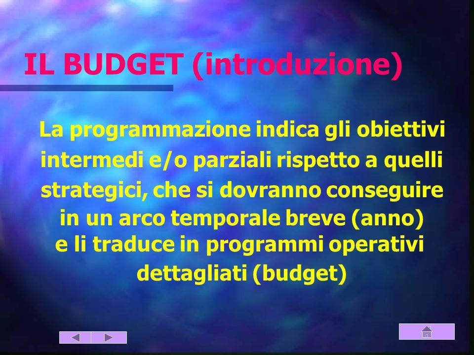 La programmazione indica gli obiettivi intermedi e/o parziali rispetto a quelli strategici, che si dovranno conseguire in un arco temporale breve (anno) e li traduce in programmi operativi dettagliati (budget) IL BUDGET (introduzione)
