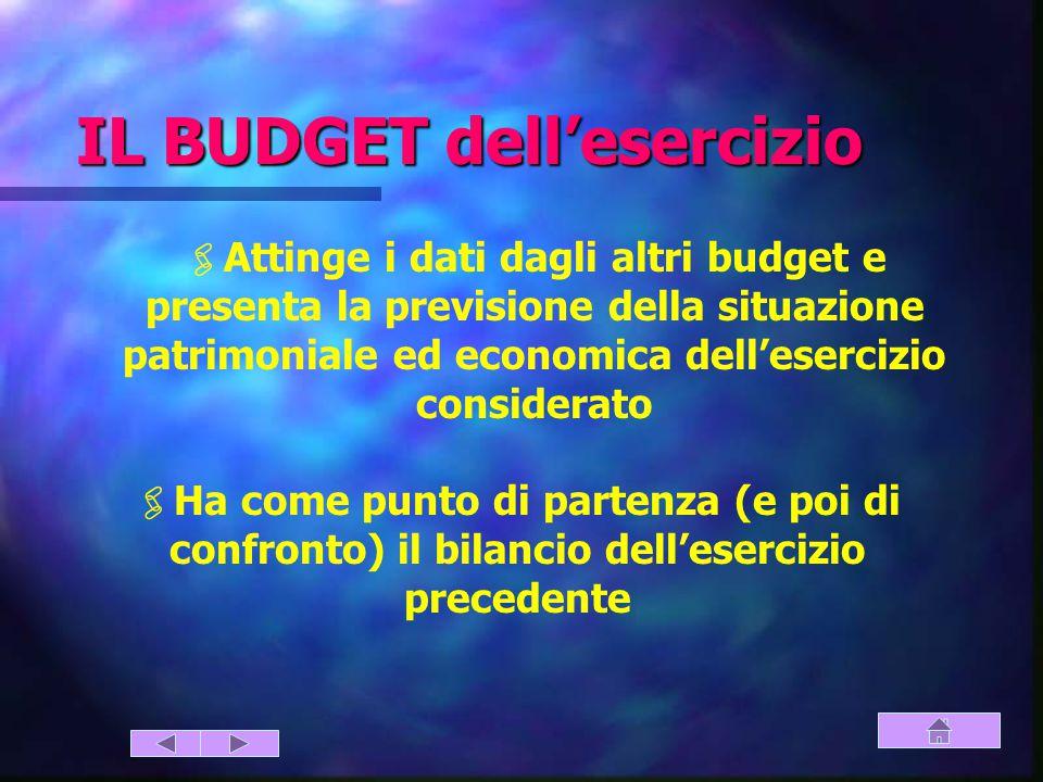 IL BUDGET dell'esercizio  Attinge i dati dagli altri budget e presenta la previsione della situazione patrimoniale ed economica dell'esercizio considerato  Ha come punto di partenza (e poi di confronto) il bilancio dell'esercizio precedente