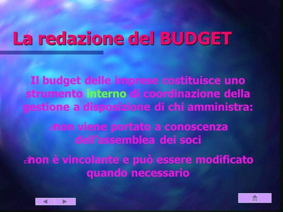 La redazione del BUDGET (strumento di coordinazione) Il budget delle imprese costituisce uno strumento interno di coordinazione della gestione a disposizione di chi amministra:  non viene portato a conoscenza dell'assemblea dei soci  non è vincolante e può essere modificato quando necessario
