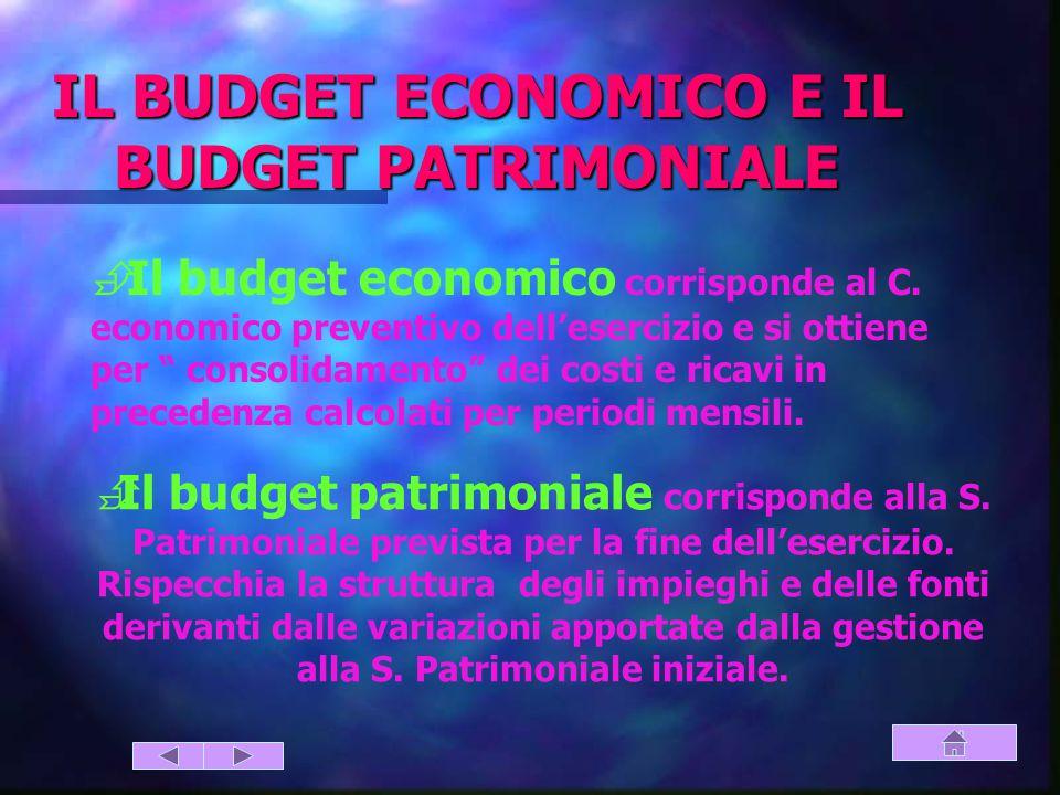 IL BUDGET ECONOMICO E IL BUDGET PATRIMONIALE  Il budget economico corrisponde al C.