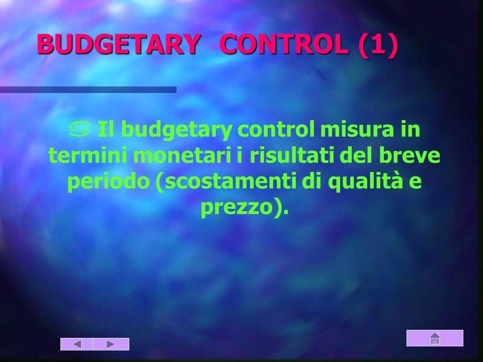 BUDGETARY CONTROL (1) a Il budgetary control misura in termini monetari i risultati del breve periodo (scostamenti di qualità e prezzo).