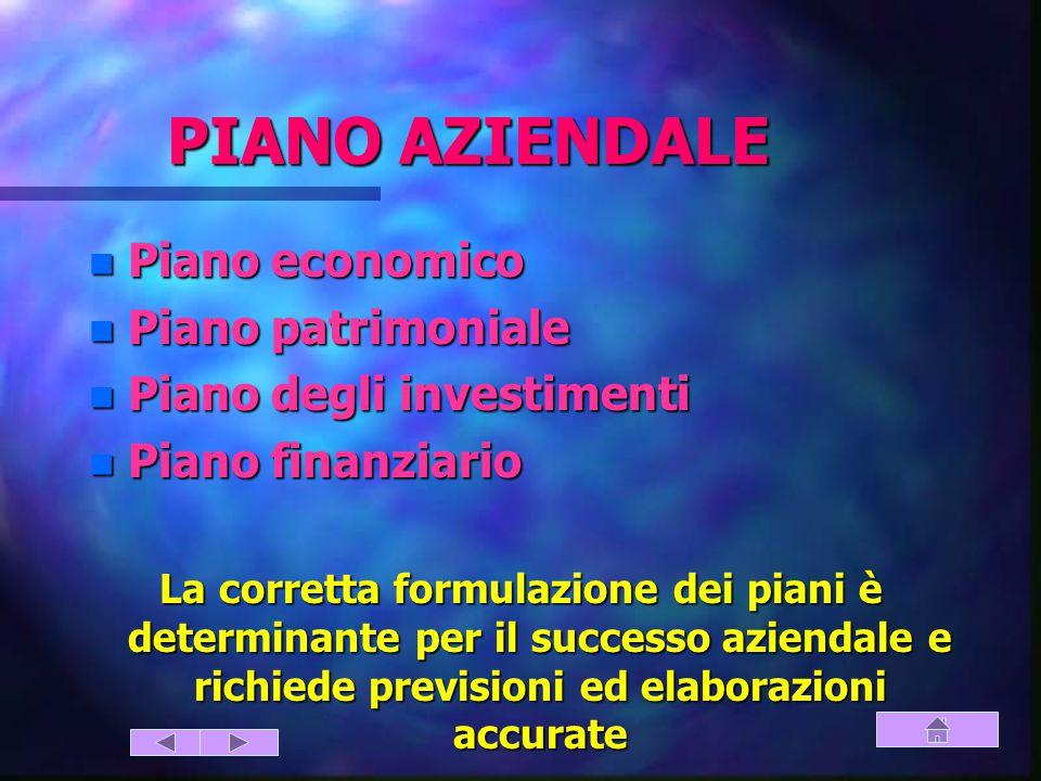 PIANO AZIENDALE n Piano economico n Piano patrimoniale n Piano degli investimenti n Piano finanziario La corretta formulazione dei piani è determinante per il successo aziendale e richiede previsioni ed elaborazioni accurate