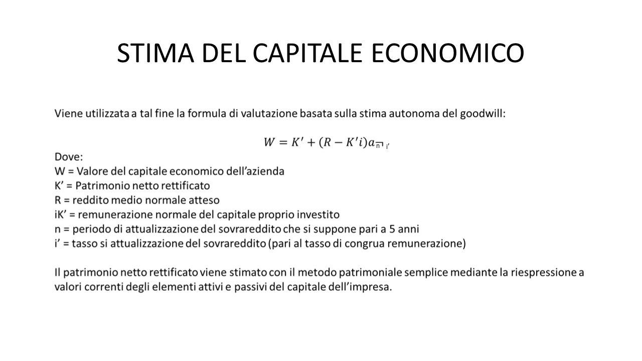 STIMA DEL CAPITALE ECONOMICO n i'i'