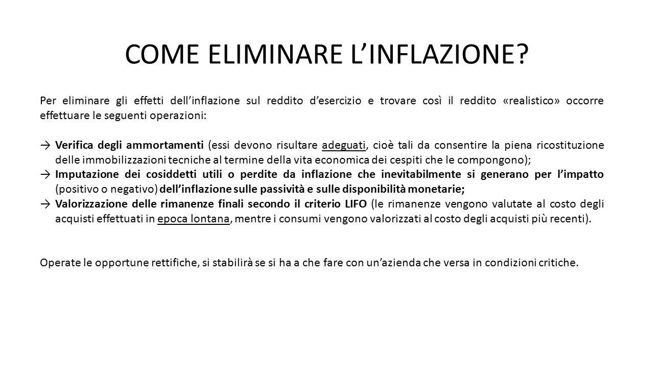 COME ELIMINARE L'INFLAZIONE? Per eliminare gli effetti dell'inflazione sul reddito d'esercizio e trovare così il reddito «realistico» occorre effettua