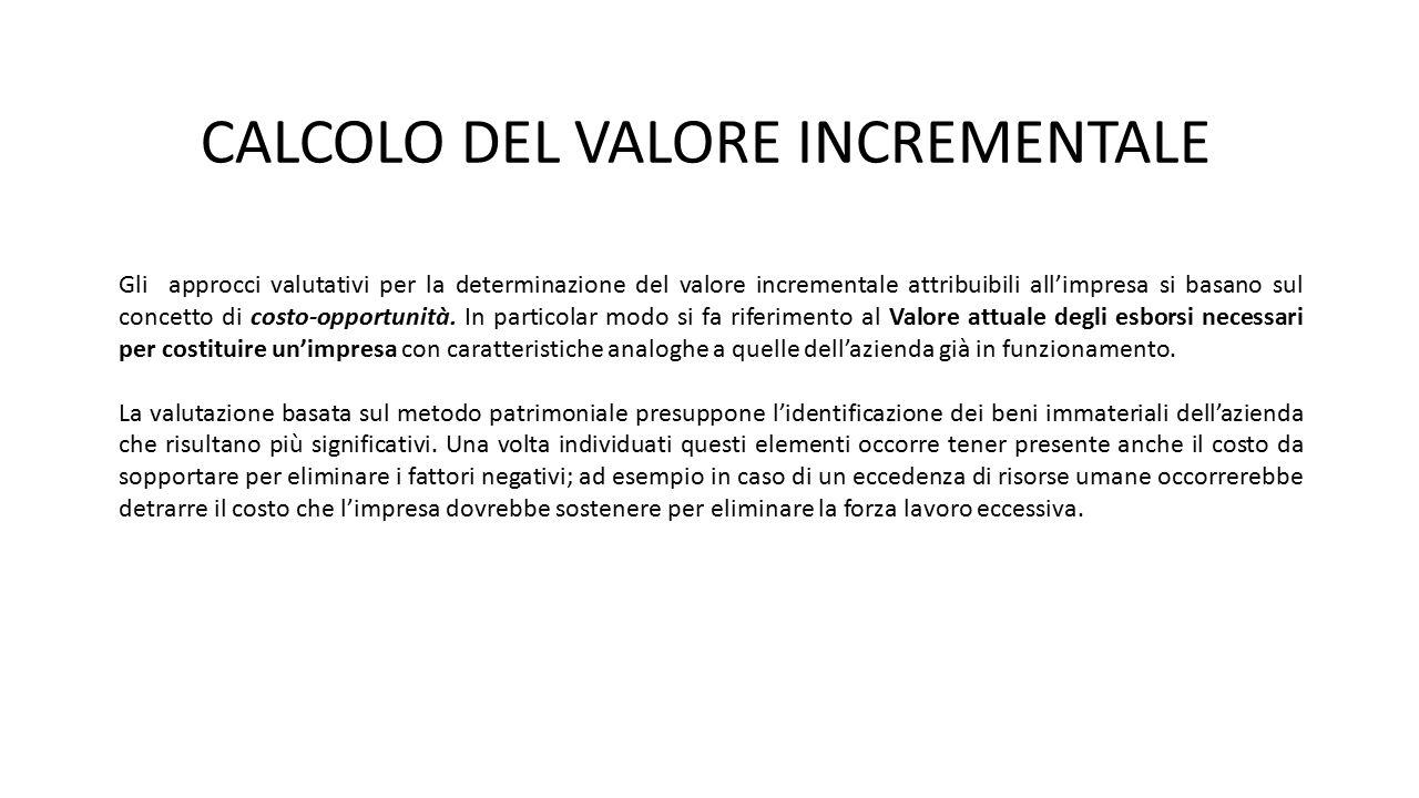 CALCOLO DEL VALORE INCREMENTALE Gli approcci valutativi per la determinazione del valore incrementale attribuibili all'impresa si basano sul concetto