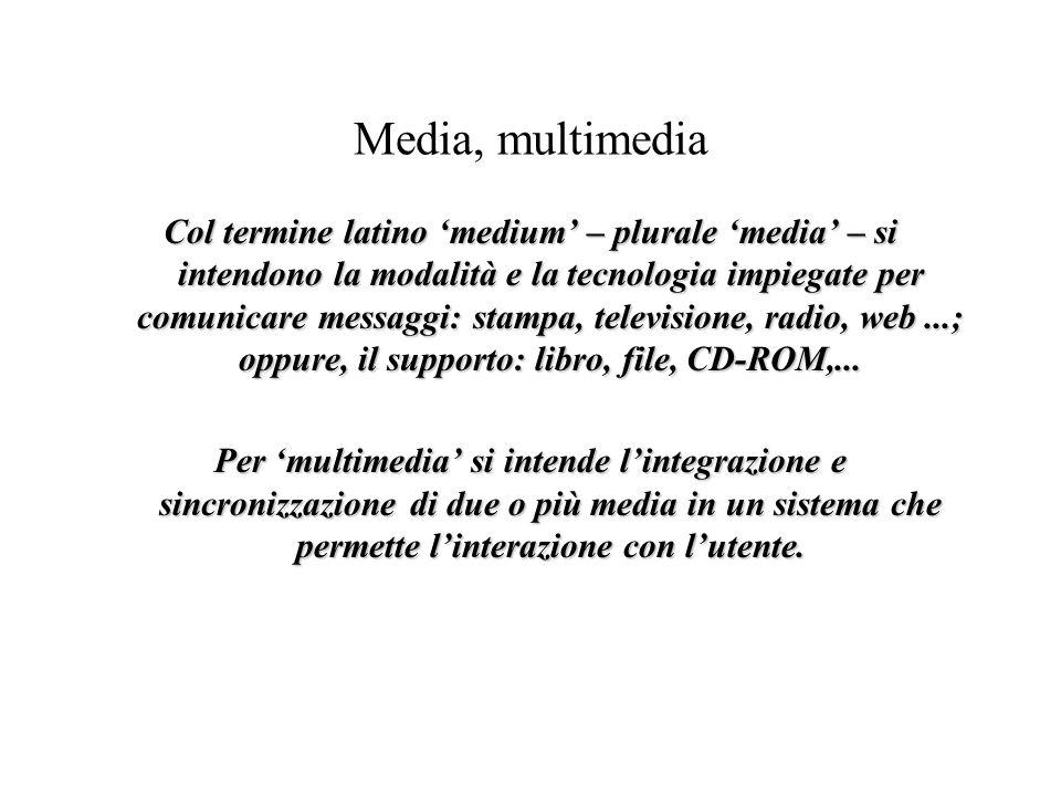 Media, multimedia Col termine latino 'medium' – plurale 'media' – si intendono la modalità e la tecnologia impiegate per comunicare messaggi: stampa, televisione, radio, web...; oppure, il supporto: libro, file, CD-ROM,...
