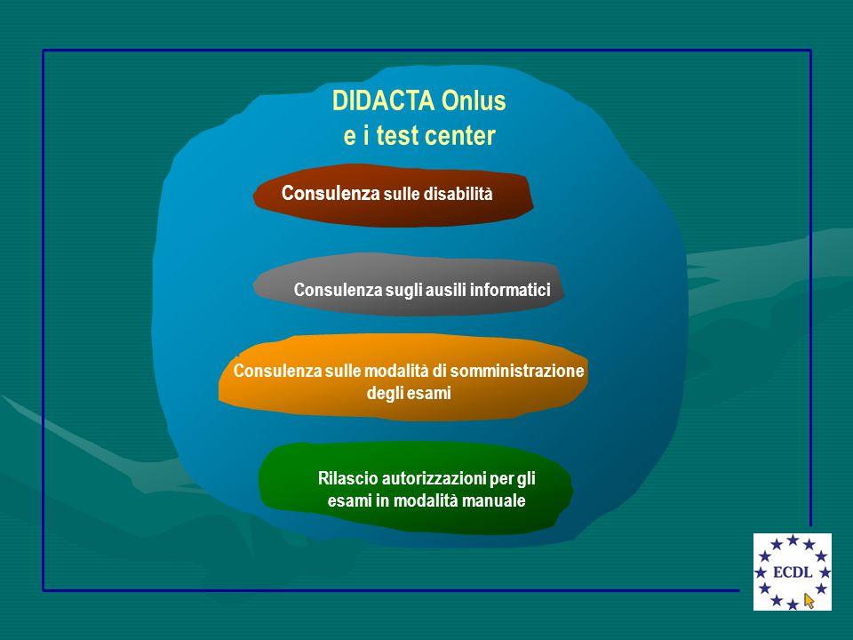 Knowledge of assistive technology DIDACTA Onlus e i test center Rilascio autorizzazioni per gli esami in modalità manuale Consulenza sulle disabilità Consulenza sugli ausili informatici Consulenza sulle modalità di somministrazione degli esami