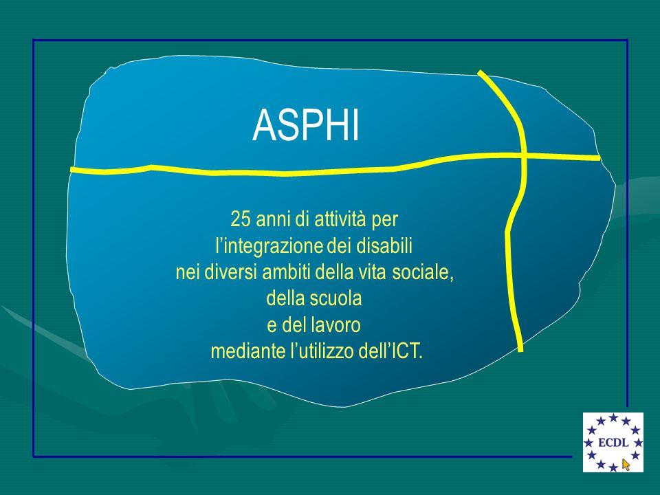 ASPHI 25 anni di attività per l'integrazione dei disabili nei diversi ambiti della vita sociale, della scuola e del lavoro mediante l'utilizzo dell'ICT.