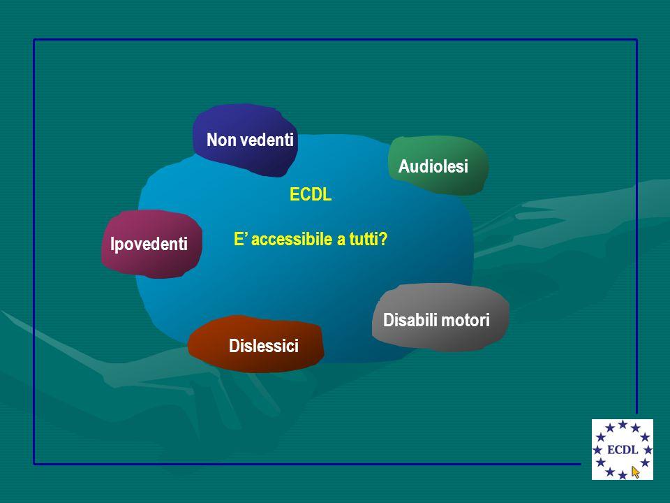 ECDL E' accessibile a tutti? Dislessici Audiolesi Disabili motori Non vedenti Ipovedenti