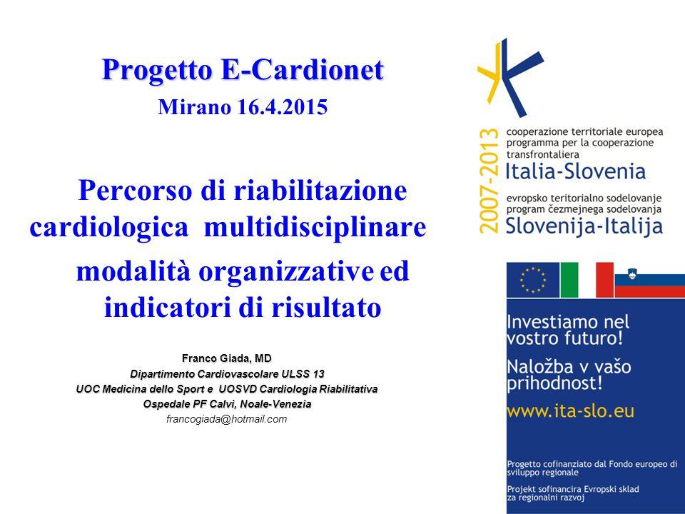 Progetto E-Cardionet Mirano 16.4.2015 Percorso di riabilitazione cardiologica multidisciplinare::: modalità organizzative ed indicatori di risultato F