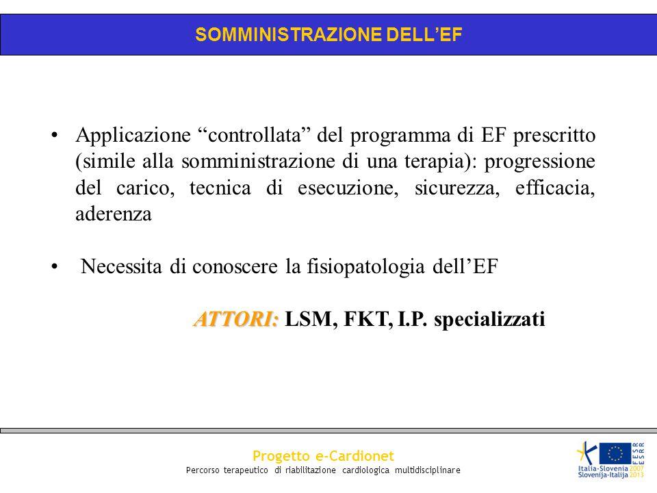 """Progetto e-Cardionet Percorso terapeutico di riabilitazione cardiologica multidisciplinare Applicazione """"controllata"""" del programma di EF prescritto ("""