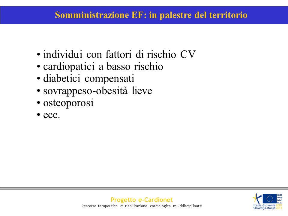 Progetto e-Cardionet Percorso terapeutico di riabilitazione cardiologica multidisciplinare individui con fattori di rischio CV cardiopatici a basso ri