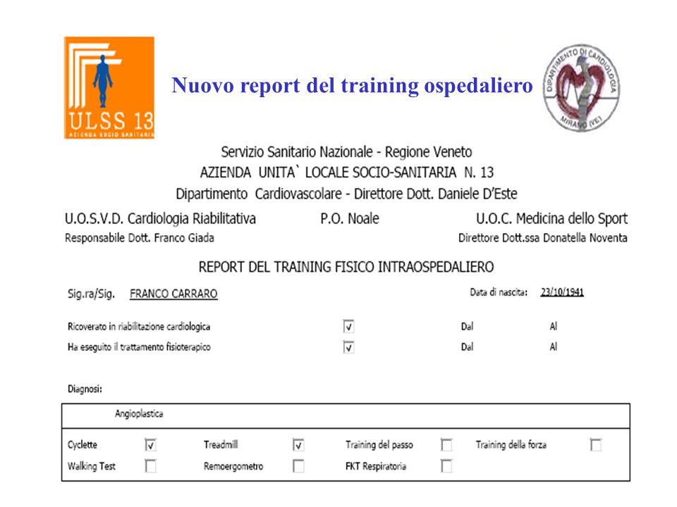 Nuovo report del training ospedaliero