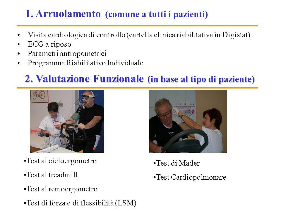 2. Valutazione Funzionale (in base al tipo di paziente) Test al cicloergometro Test al treadmill Test al remoergometro Test di forza e di flessibilità
