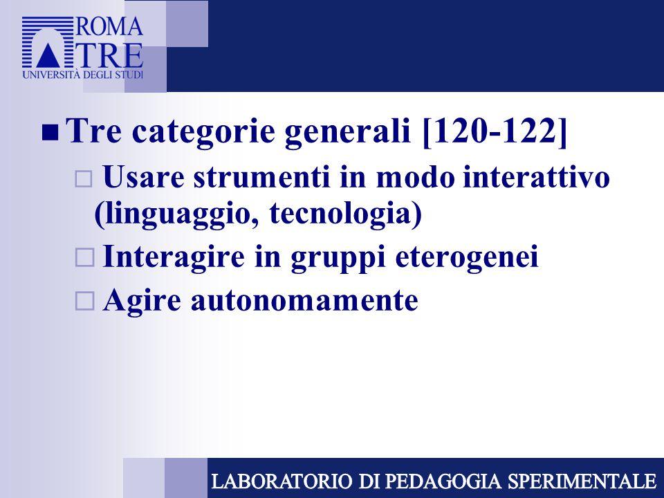 Tre categorie generali [120-122]  Usare strumenti in modo interattivo (linguaggio, tecnologia)  Interagire in gruppi eterogenei  Agire autonomamente