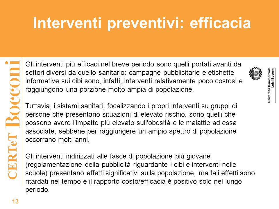 CERTeT Interventi preventivi: efficacia 13 Gli interventi più efficaci nel breve periodo sono quelli portati avanti da settori diversi da quello sanit