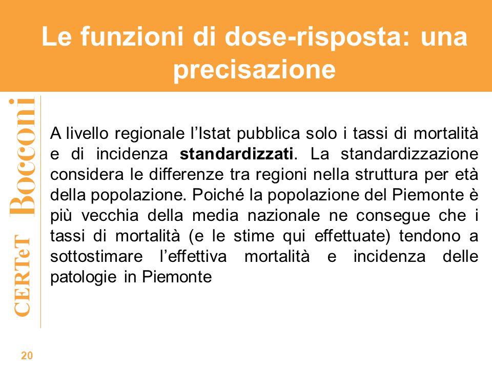 CERTeT 20 A livello regionale l'Istat pubblica solo i tassi di mortalità e di incidenza standardizzati. La standardizzazione considera le differenze t