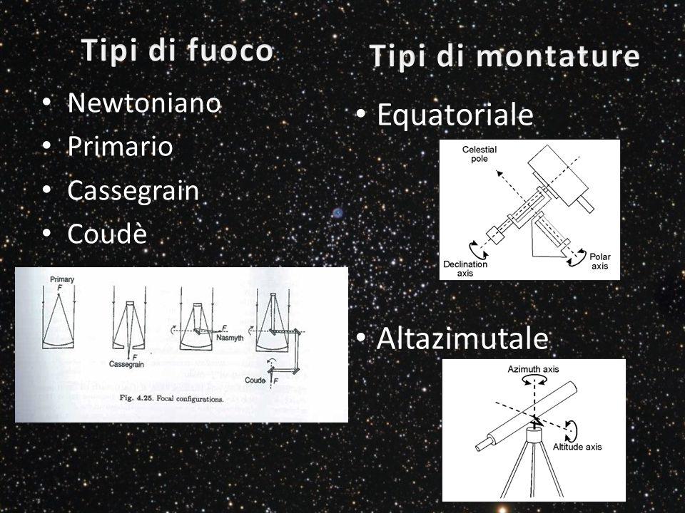 Newtoniano Primario Cassegrain Coudè Equatoriale Altazimutale