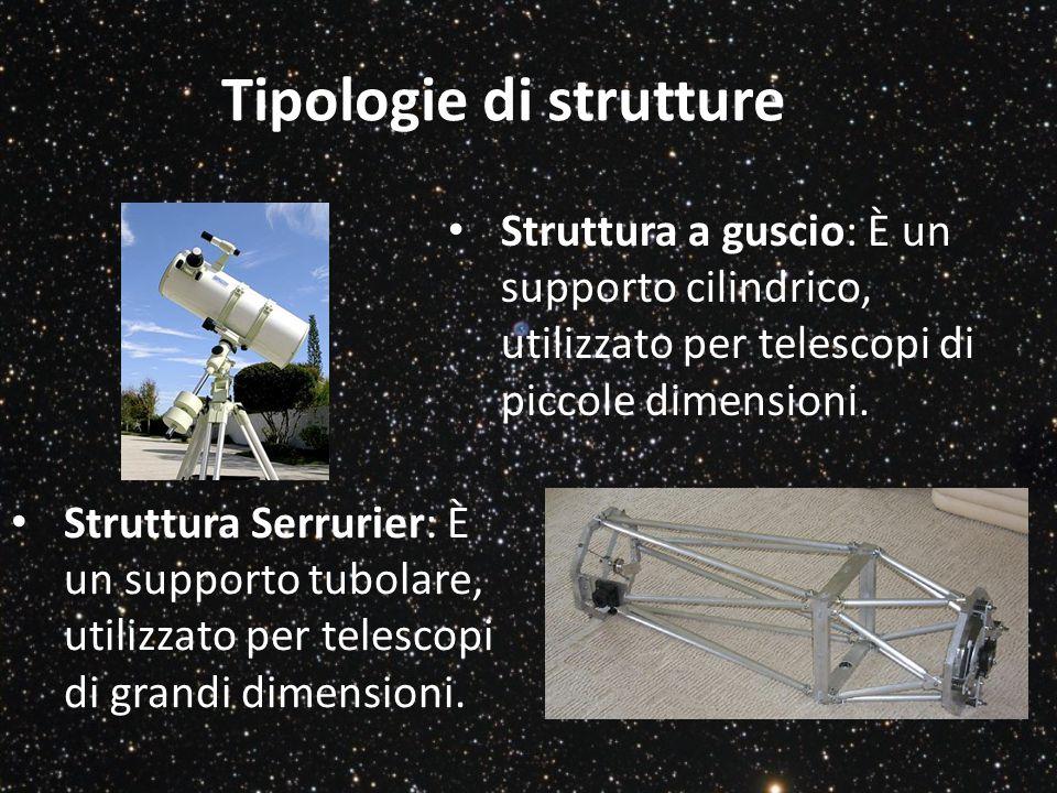 Tipologie di strutture Struttura a guscio: È un supporto cilindrico, utilizzato per telescopi di piccole dimensioni. Struttura Serrurier: È un support