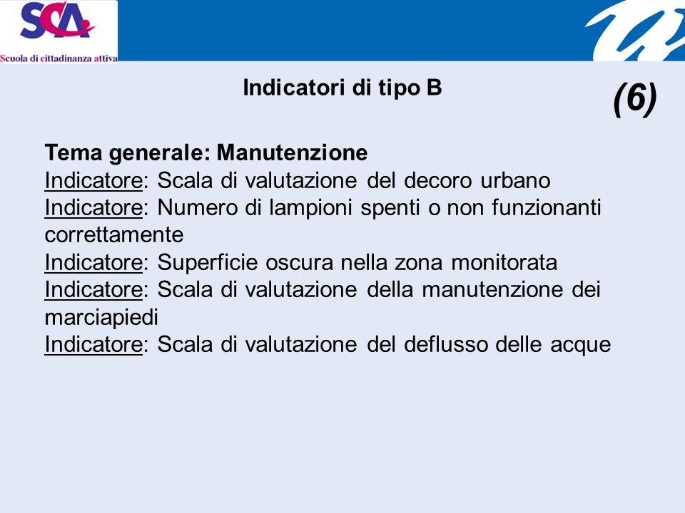 Tema generale: Manutenzione Indicatore: Scala di valutazione del decoro urbano Indicatore: Numero di lampioni spenti o non funzionanti correttamente Indicatore: Superficie oscura nella zona monitorata Indicatore: Scala di valutazione della manutenzione dei marciapiedi Indicatore: Scala di valutazione del deflusso delle acque Indicatori di tipo B (6)