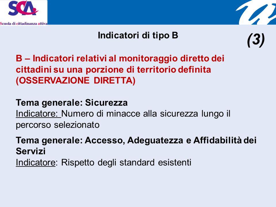 B – Indicatori relativi al monitoraggio diretto dei cittadini su una porzione di territorio definita (OSSERVAZIONE DIRETTA) Tema generale: Sicurezza Indicatore: Numero di minacce alla sicurezza lungo il percorso selezionato Tema generale: Accesso, Adeguatezza e Affidabilità dei Servizi Indicatore: Rispetto degli standard esistenti Indicatori di tipo B (3)
