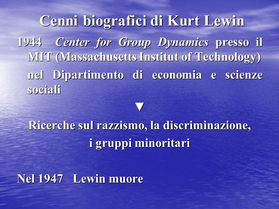 Cenni biografici di Kurt Lewin 1944 Center for Group Dynamics presso il MIT (Massachusetts Institut of Technology) nel Dipartimento di economia e scie