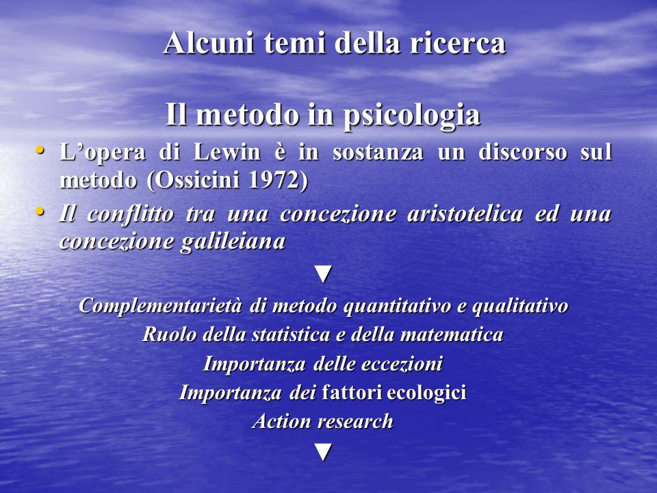 Alcuni temi della ricerca Il metodo in psicologia L'opera di Lewin è in sostanza un discorso sul metodo (Ossicini 1972) L'opera di Lewin è in sostanza