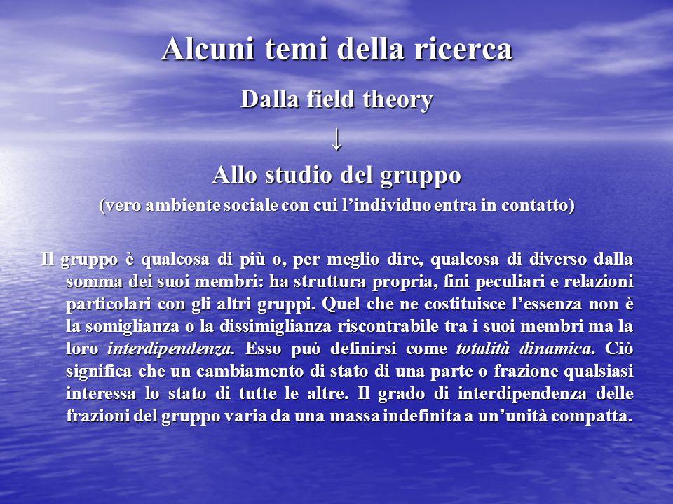 Alcuni temi della ricerca Dalla field theory ↓ Allo studio del gruppo (vero ambiente sociale con cui l'individuo entra in contatto) Il gruppo è qualco