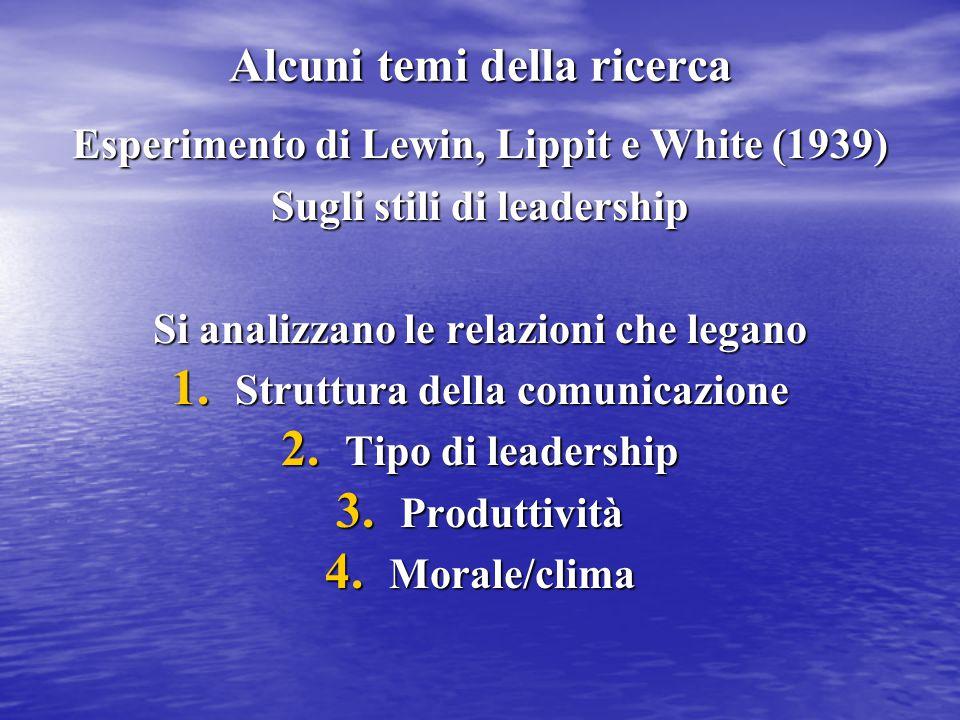 Alcuni temi della ricerca Esperimento di Lewin, Lippit e White (1939) Sugli stili di leadership Si analizzano le relazioni che legano 1. Struttura del