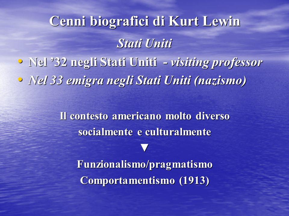 Cenni biografici di Kurt Lewin Stati Uniti Nel '32 negli Stati Uniti - visiting professor Nel '32 negli Stati Uniti - visiting professor Nel 33 emigra