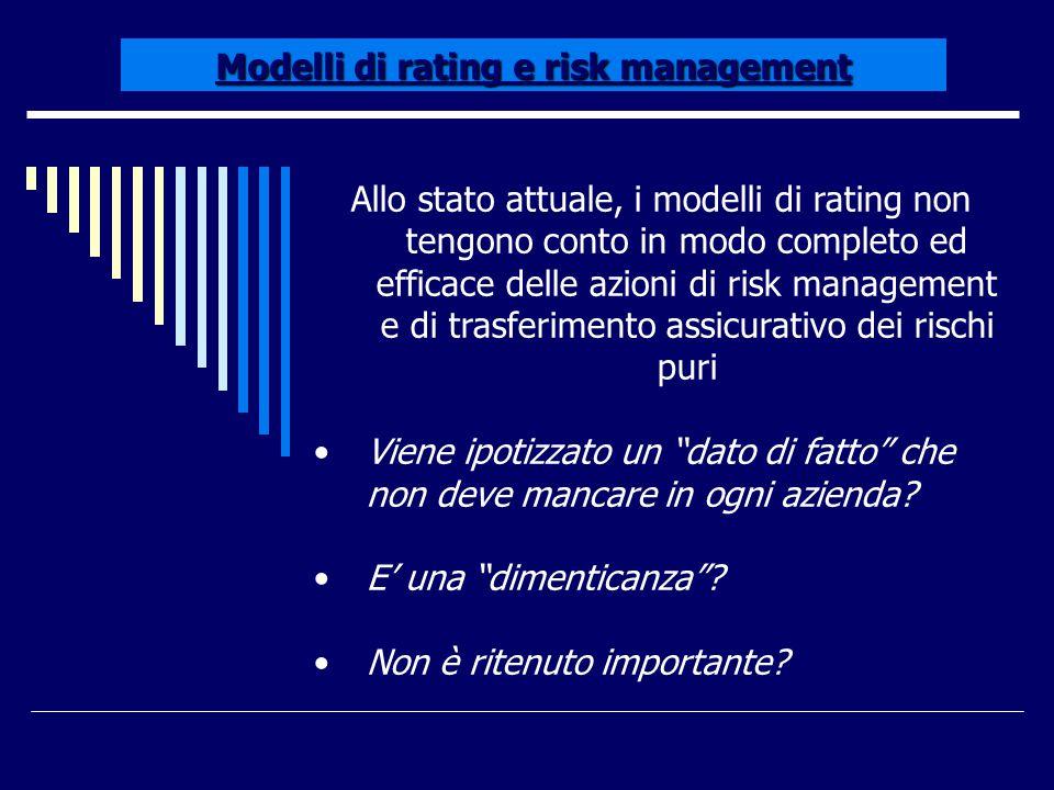 Modelli di rating e risk management Allo stato attuale, i modelli di rating non tengono conto in modo completo ed efficace delle azioni di risk manage