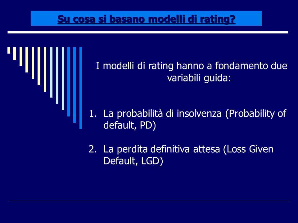 Su cosa si basano modelli di rating? I modelli di rating hanno a fondamento due variabili guida: 1.La probabilità di insolvenza (Probability of defaul