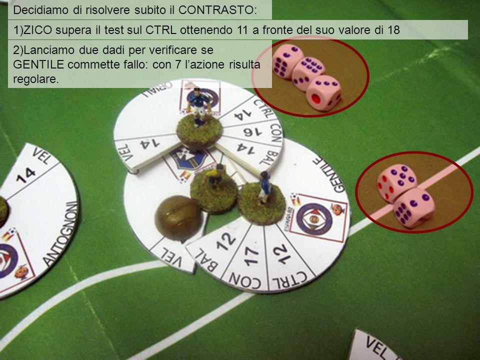 Decidiamo di risolvere subito il CONTRASTO: 1)ZICO supera il test sul CTRL ottenendo 11 a fronte del suo valore di 18 2)Lanciamo due dadi per verificare se GENTILE commette fallo: con 7 l'azione risulta regolare.