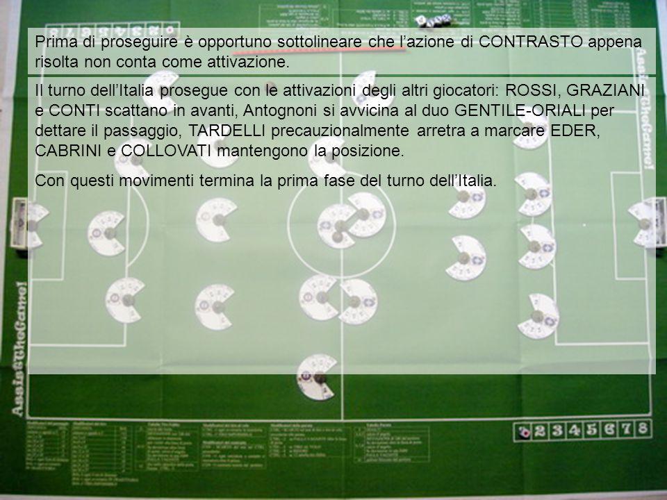 Il turno dell'Italia prosegue con le attivazioni degli altri giocatori: ROSSI, GRAZIANI e CONTI scattano in avanti, Antognoni si avvicina al duo GENTILE-ORIALI per dettare il passaggio, TARDELLI precauzionalmente arretra a marcare EDER, CABRINI e COLLOVATI mantengono la posizione.