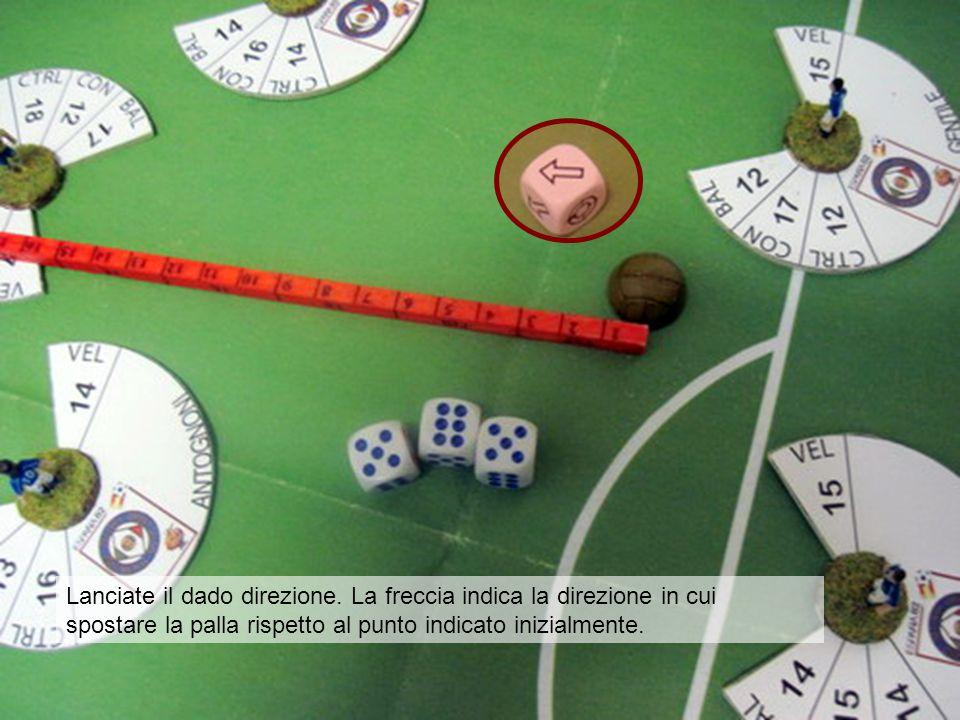 Lanciate il dado direzione. La freccia indica la direzione in cui spostare la palla rispetto al punto indicato inizialmente.