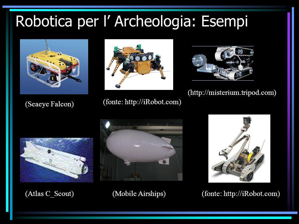 Robotica per l' Archeologia: Esempi (http://misterium.tripod.com) (fonte: http://iRobot.com) (Seaeye Falcon) (Atlas C_Scout)(Mobile Airships)