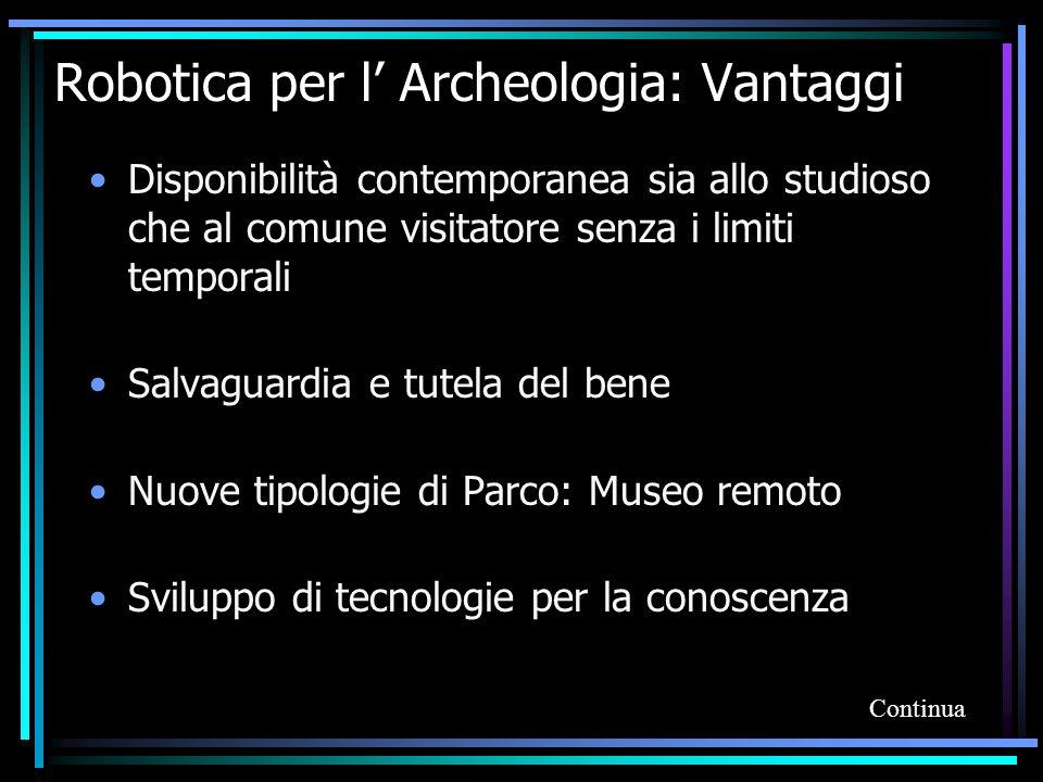 Robotica per l' Archeologia: Vantaggi Disponibilità contemporanea sia allo studioso che al comune visitatore senza i limiti temporali Salvaguardia e t