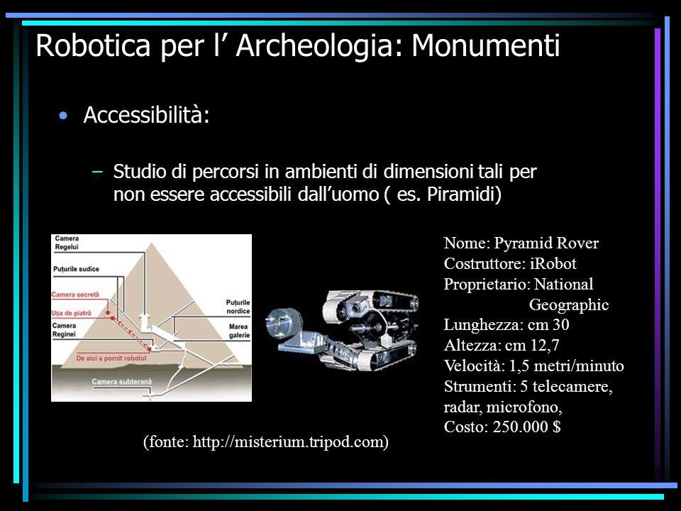 Robotica per l' Archeologia: Monumenti Accessibilità: –Studio di percorsi in ambienti di dimensioni tali per non essere accessibili dall'uomo ( es. Pi