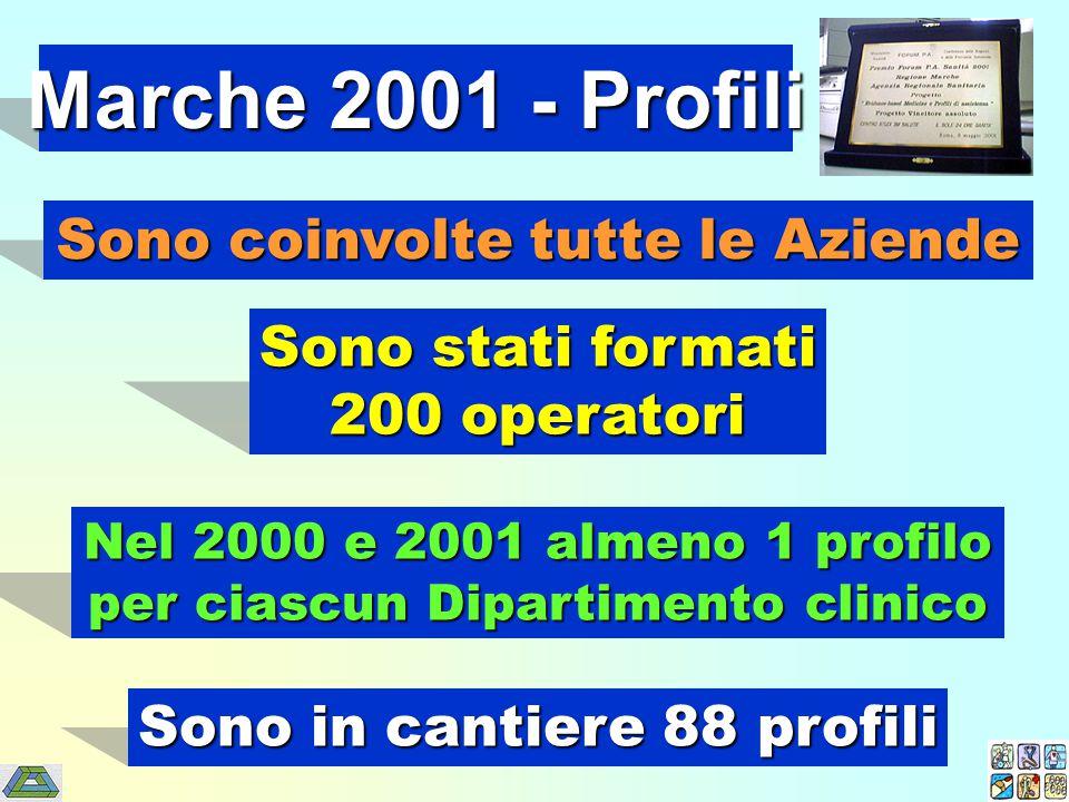 Marche 2001 - Profili Nel 2000 e 2001 almeno 1 profilo per ciascun Dipartimento clinico Sono in cantiere 88 profili Sono stati formati 200 operatori Sono coinvolte tutte le Aziende