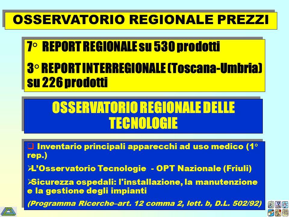  Inventario principali apparecchi ad uso medico (1° rep.)  L'Osservatorio Tecnologie - OPT Nazionale (Friuli)  Sicurezza ospedali: l'installazione,