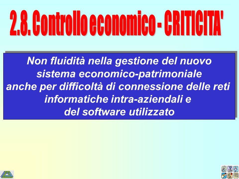 Non fluidità nella gestione del nuovo sistema economico-patrimoniale anche per difficoltà di connessione delle reti informatiche intra-aziendali e del