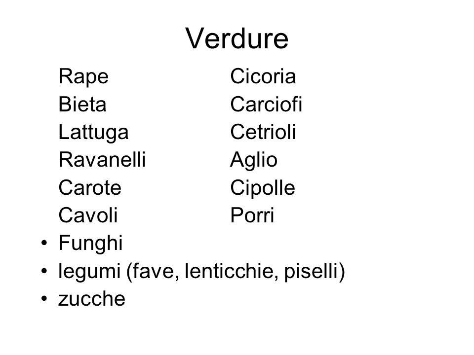 Verdure RapeCicoria BietaCarciofi LattugaCetrioli Ravanelli Aglio Carote Cipolle Cavoli Porri Funghi legumi (fave, lenticchie, piselli) zucche