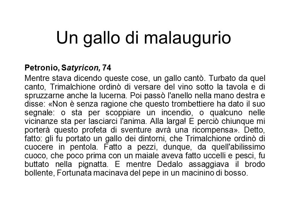 Un gallo di malaugurio Petronio, Satyricon, 74 Mentre stava dicendo queste cose, un gallo cantò. Turbato da quel canto, Trimalchione ordinò di versare