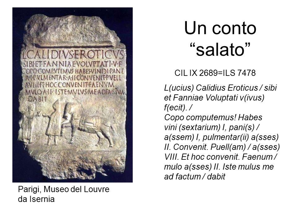 """Un conto """"salato"""" L(ucius) Calidius Eroticus / sibi et Fanniae Voluptati v(ivus) f(ecit). / Copo computemus! Habes vini (sextarium) I, pani(s) / a(sse"""